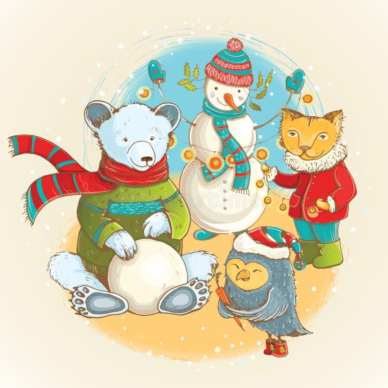 Vector a ilustração do Natal com animais bonitos e boneco de neve ilustração stock