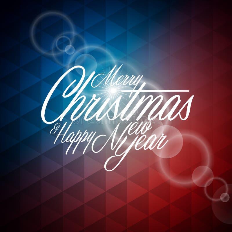 Vector a ilustração do Natal com projeto tipográfico no fundo geométrico abstrato ilustração royalty free