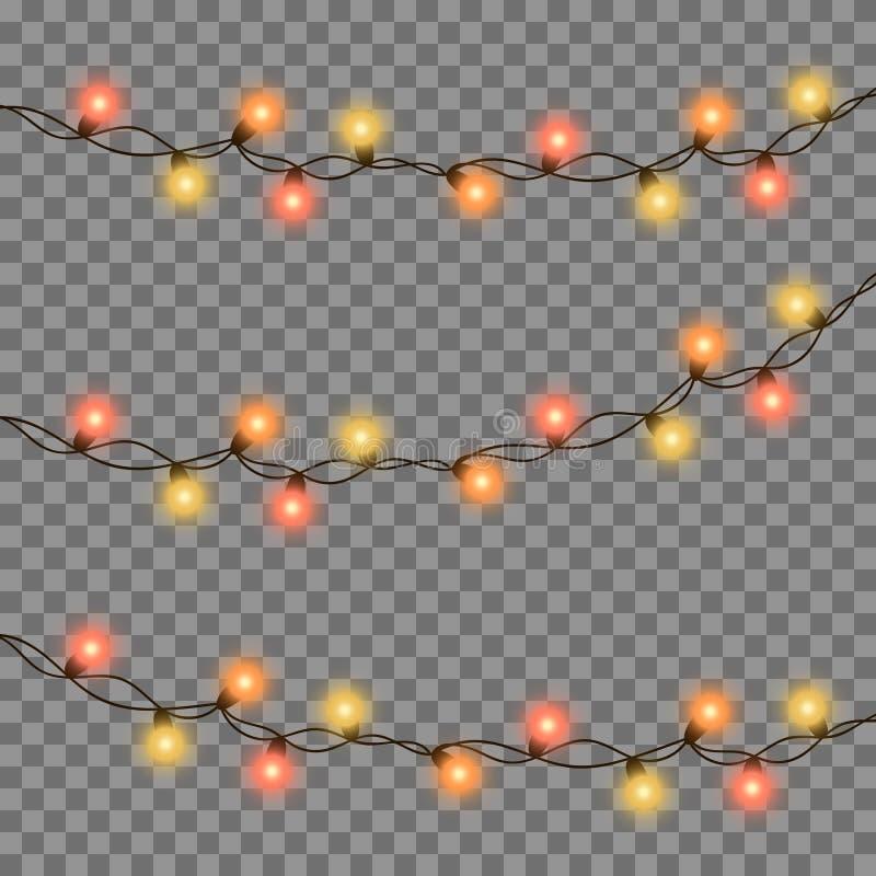 Vector a ilustração do Natal, luzes do ano novo isoladas no fundo Grupo de festões da corda da cor Decoração realística do partid fotos de stock royalty free