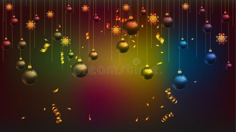 Vector a ilustração do ouro 2019 do papel de parede do ano novo feliz e do lugar preto das cores para bolas do Natal do texto ilustração do vetor