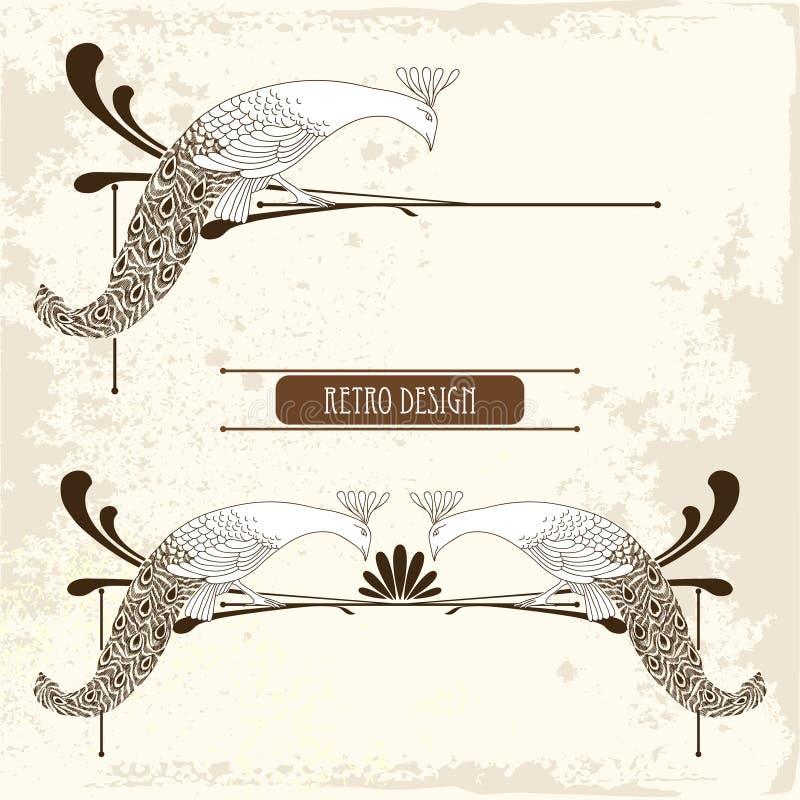 Vector a ilustração do pavão do vintage do mão-desenho com linhas no fundo bege textured ilustração royalty free