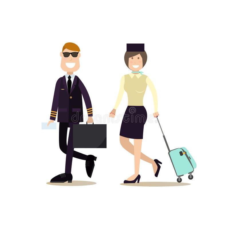 Vector a ilustração do piloto e da comissária de bordo no estilo liso ilustração stock