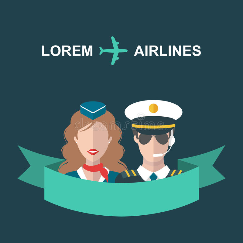 Vector a ilustração do plano, da comissária de bordo e do piloto com fita e do lugar para o texto no estilo liso na moda ilustração royalty free