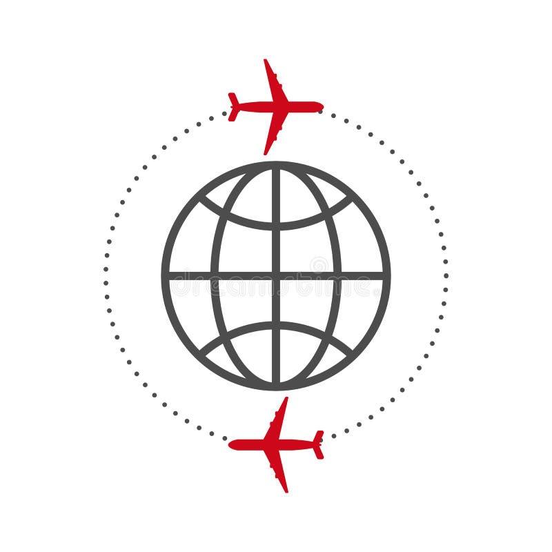 Vector a ilustração do plano do ícone e do globo ilustração do vetor