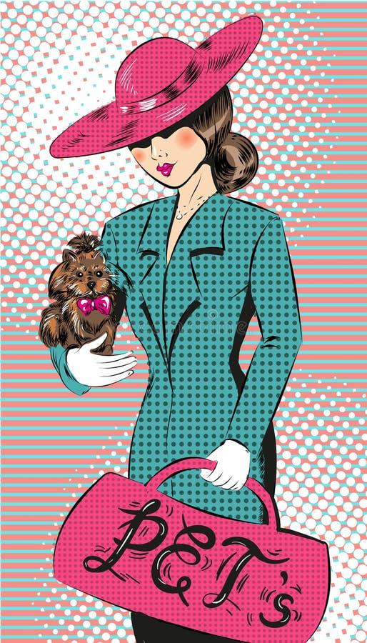Vector a ilustração do pop art da menina no chapéu com cão ilustração do vetor