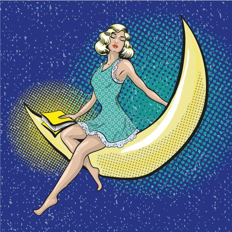 Vector a ilustração do pop art da mulher bonita que senta-se no crescente ilustração royalty free