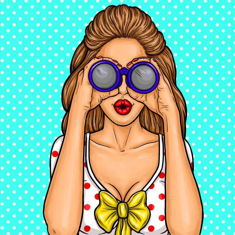Vector a ilustração do pop art de uma menina 'sexy' nova que olha com os binóculos para discontos ilustração royalty free