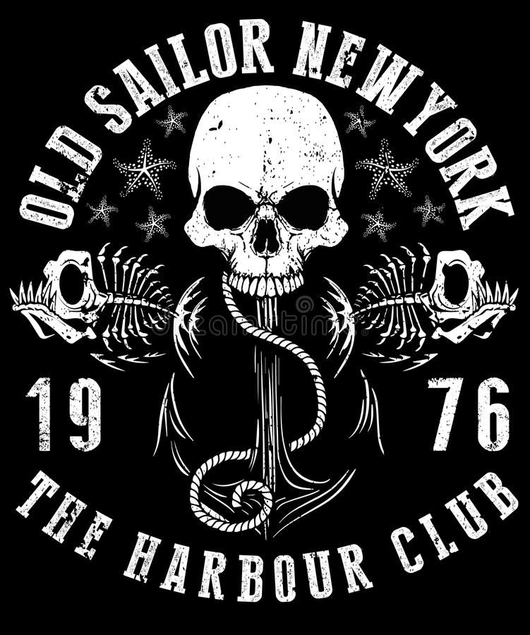 Vector a ilustração do projeto gráfico da camisa do crânio T do marinheiro ilustração royalty free