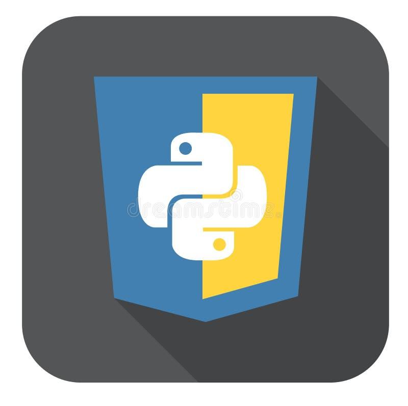 Vector a ilustração do protetor azul e amarelo com crachá do HTML cinco, ícone isolado do desenvolvimento da site no branco ilustração royalty free