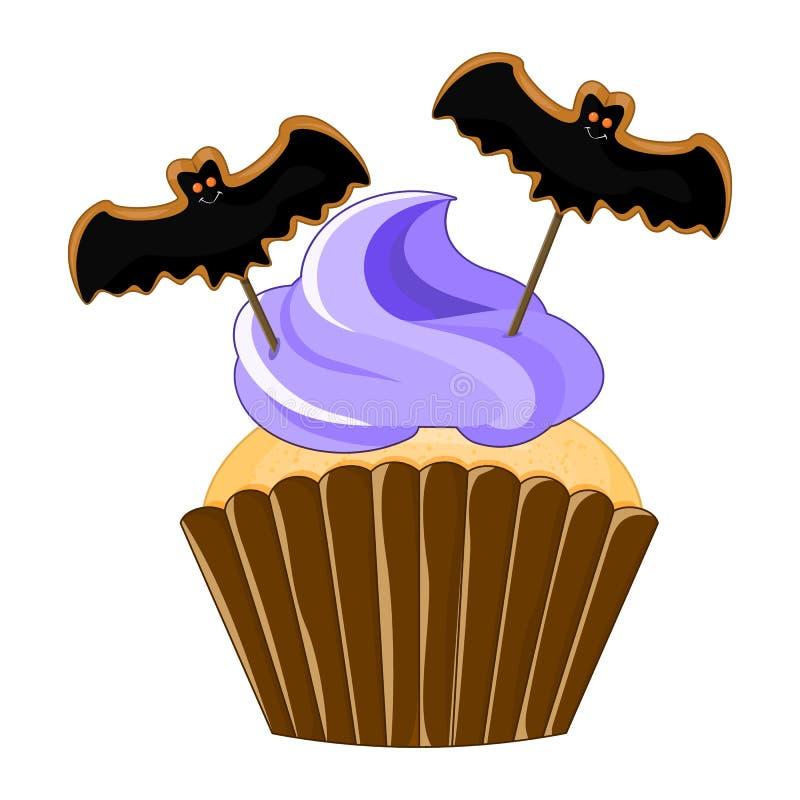 Vector a ilustração do queque roxo do Dia das Bruxas no fundo branco Doces assustadores felizes 1 do Dia das Bruxas 2 ilustração royalty free