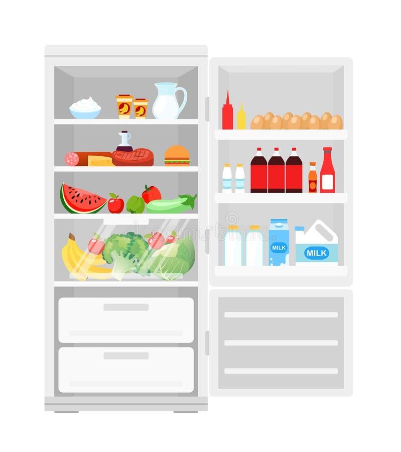 Vector a ilustração do refrigerador aberto moderno completamente do alimento Lote dos produtos no refrigerador, frutas e legumes ilustração royalty free
