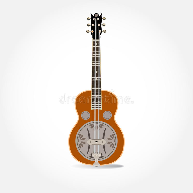 Vector a ilustração do ressonador ou da guitarra resophonic isolado em um fundo branco ilustração royalty free