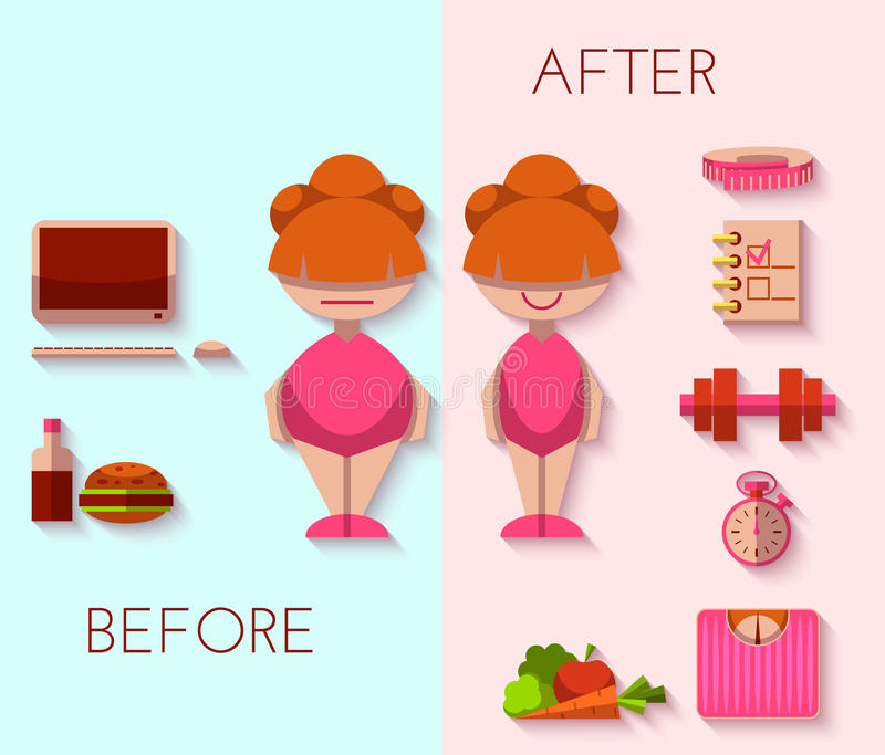 Vector a ilustração do resultado da dieta no estilo liso ilustração royalty free