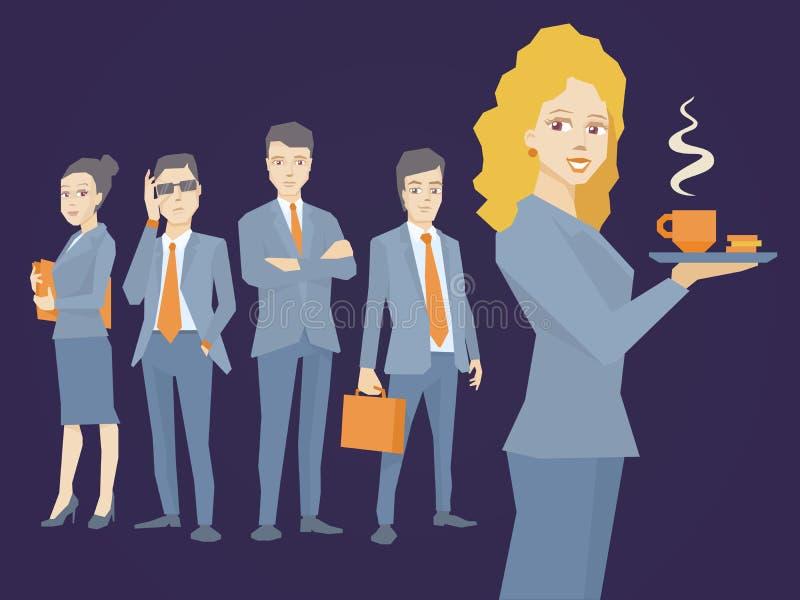 Vector a ilustração do secretário do retrato da mulher com café em h ilustração royalty free