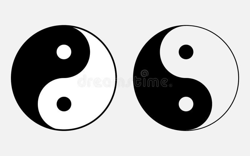 Vector a ilustração do sinal da filosofia chinesa do símbolo do confucionismo, ícones que simbolizam a unidade de Yin e de Yang b ilustração stock