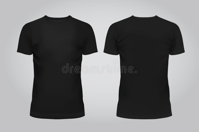Vector a ilustração do t-shirt, da parte dianteira e da parte traseira dos homens negros do molde do projeto em um fundo claro co