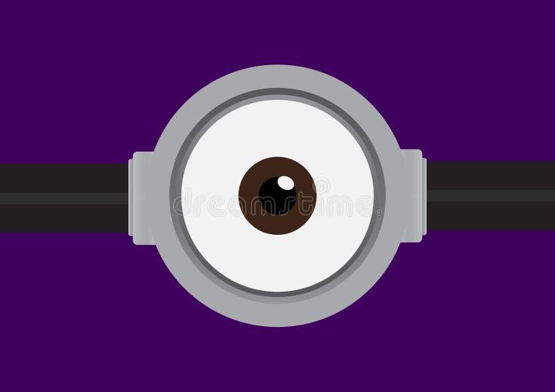 Vector a ilustração dos óculos de proteção com o um olho no roxo ilustração stock