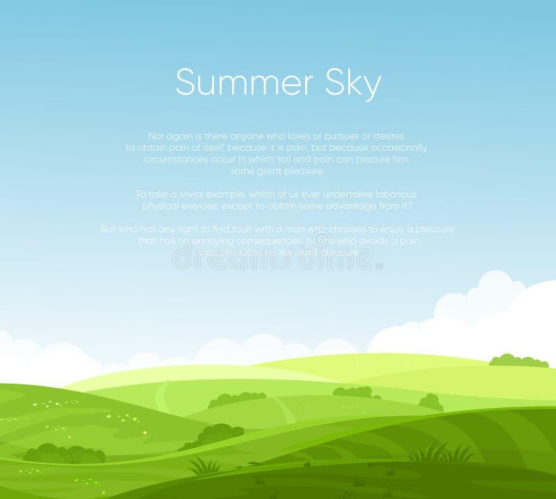 Vector a ilustração dos campos ajardinam com alvorecer bonito, montes verdes, céu azul da cor brilhante com lugar para seu texto ilustração do vetor