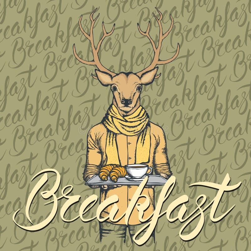 Vector a ilustração dos cervos com croissant e café ilustração do vetor
