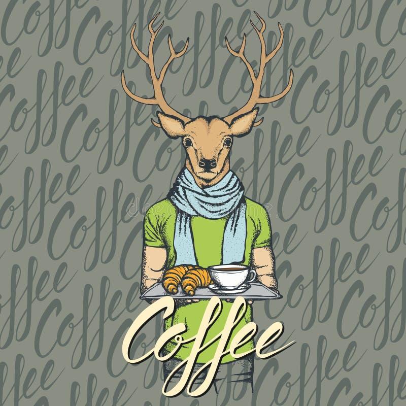 Vector a ilustração dos cervos com croissant e café ilustração royalty free