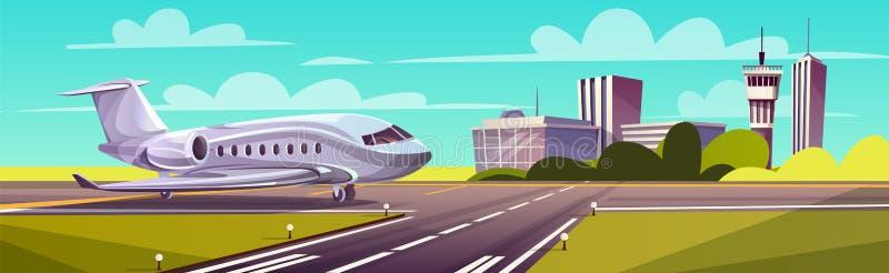 Vector a ilustração dos desenhos animados, avião de passageiros cinzento na pista de decolagem ilustração stock