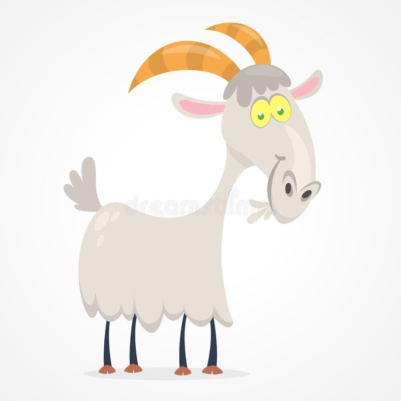 Vector a ilustração dos desenhos animados bonitos da cabra isolados no branco ilustração royalty free