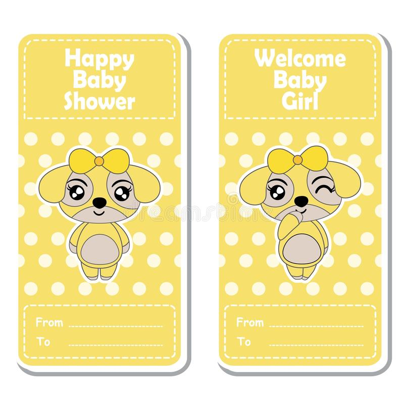 Vector a ilustração dos desenhos animados com as meninas bonitos do cachorrinho no às bolinhas amarelo ilustração do vetor