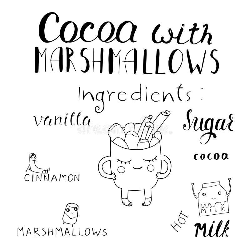 Vector a ilustração dos desenhos animados com cacau quente macio da bebida com marshmallow Entregue o copo tirado com a bebida nã ilustração royalty free