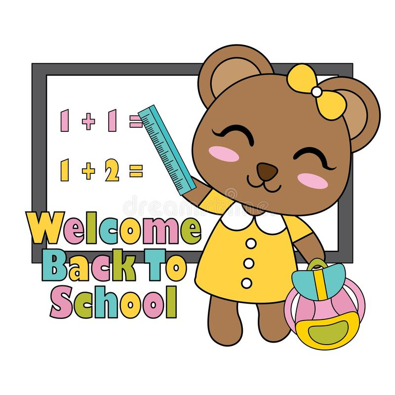 Vector a ilustração dos desenhos animados com a menina pequena bonito do urso na frente da placa branca apropriada para o projeto ilustração royalty free
