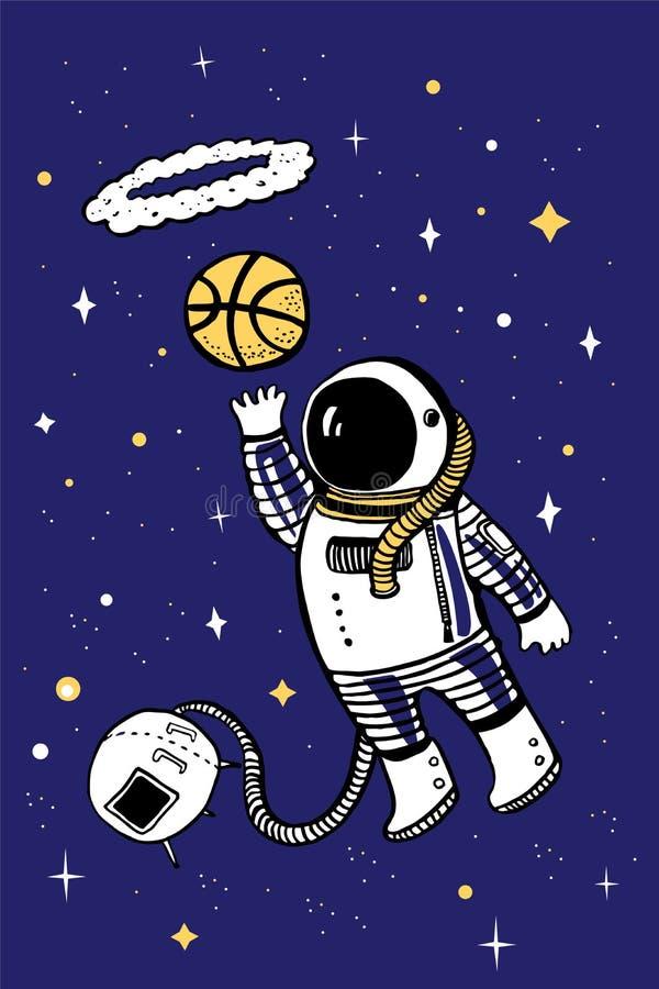 Vector a ilustração dos desenhos animados com o asronaut que joga o basquetebol no espaço ilustração royalty free