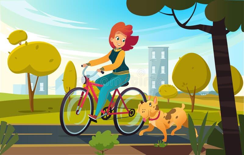 Vector a ilustração dos desenhos animados da bicicleta nova da equitação da mulher do ruivo em um parque ou o campo e um cão corr ilustração stock