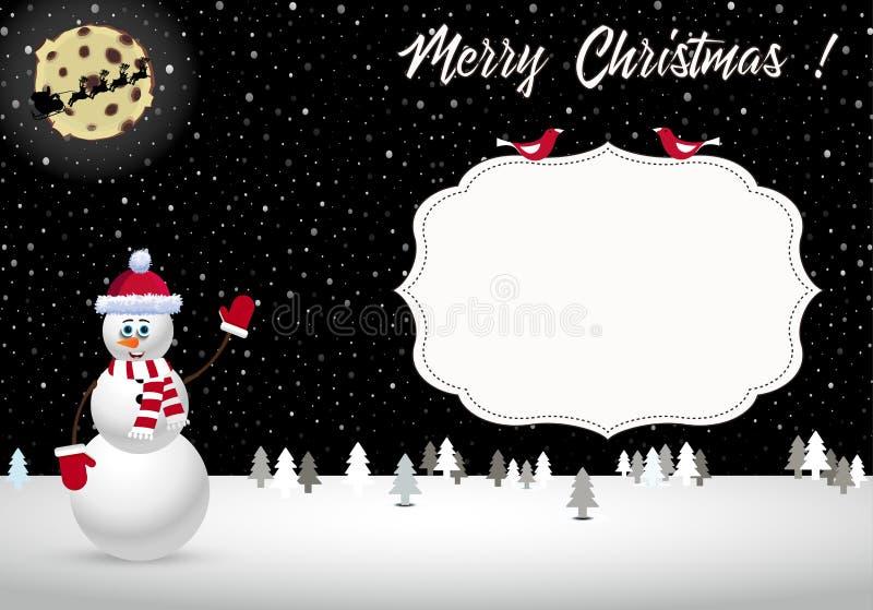Vector a ilustração dos desenhos animados da paisagem bonita da noite de Natal com silhouete e boneco de neve do trenó de Santa ilustração royalty free