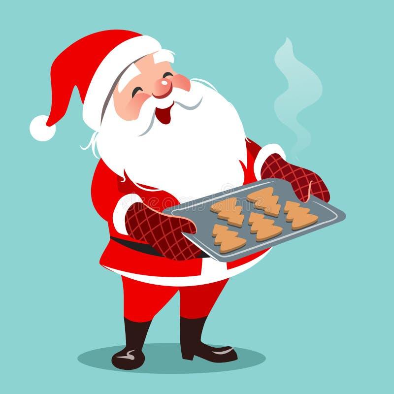 Vector a ilustração dos desenhos animados da posição feliz bonito de Santa, holdin ilustração stock