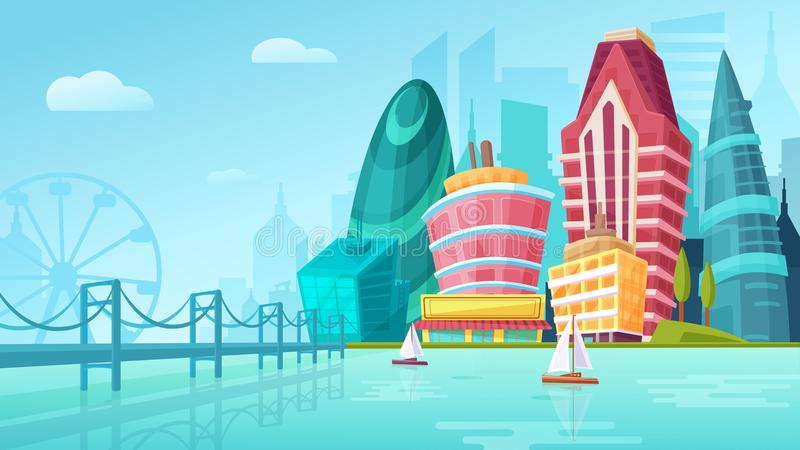 Vector a ilustração dos desenhos animados de uma paisagem urbana com grandes construções modernas perto da ponte com iate ilustração stock