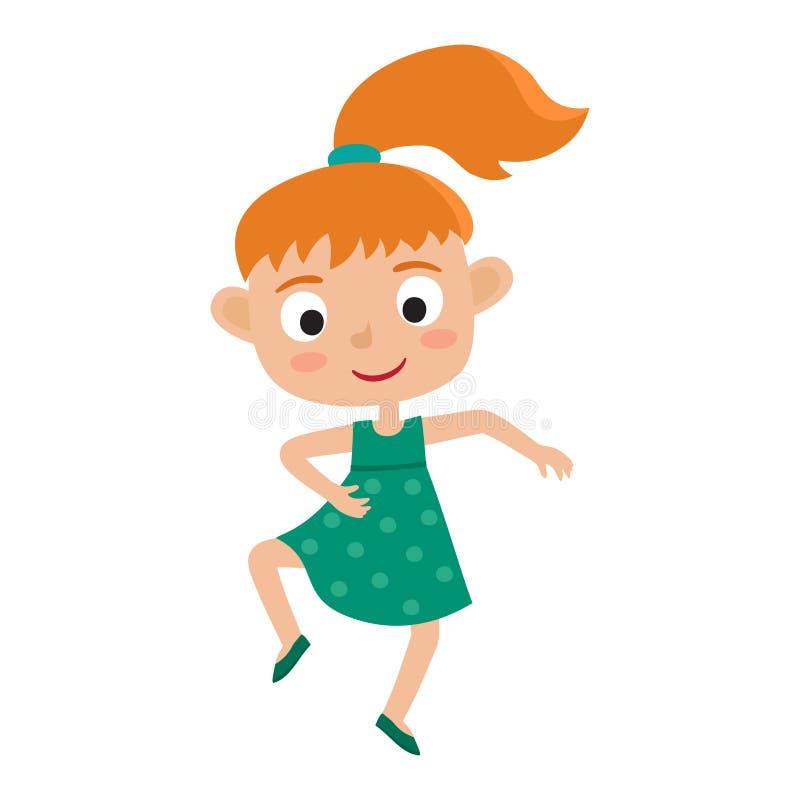 Vector a ilustração dos desenhos animados do isolador redhaired pequeno do menina-dançarino ilustração do vetor
