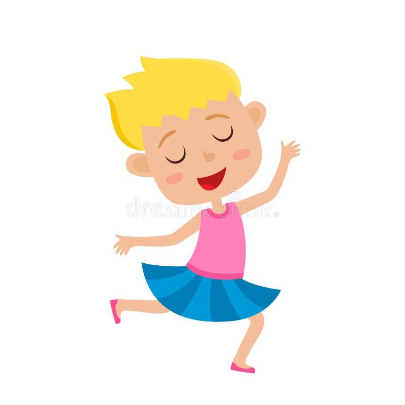 Vector a ilustração dos desenhos animados do menina-dançarino gracioso isolada no branco ilustração stock