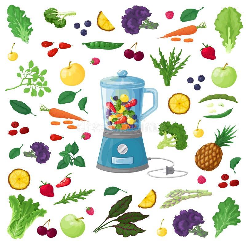 Vector a ilustração dos frutos, dos vegetais e das ervas imagens de stock royalty free