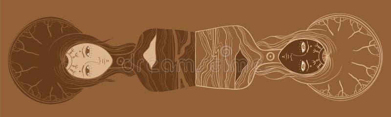 Vector a ilustração dos gêmeos, o Yin e o yang, o corpo e a alma, dualidade ilustração royalty free