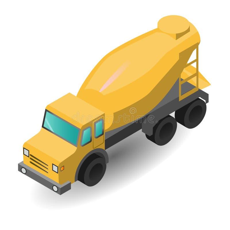 Vector a ilustração dos misturadores concretos transporte concreto, construção que os gráficos isométricos aplanam ilustração do vetor