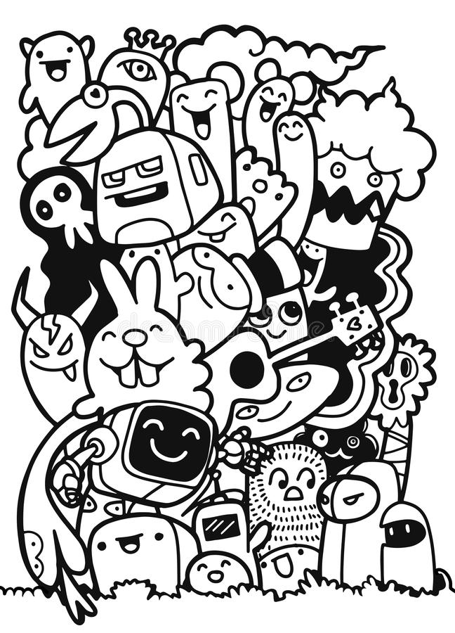 Vector a ilustração dos monstro e de amigável estrangeiro bonito, fresca, c ilustração do vetor
