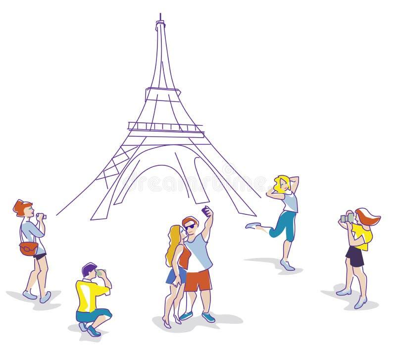 Vector a ilustração dos viajantes na torre de Eifel no projeto liso ilustração do vetor