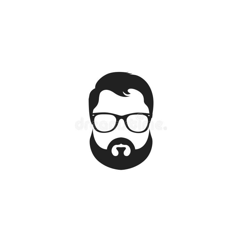 Vector a ilustração dos vidros e de um bigode com uma barba isolada no fundo branco ilustração do vetor