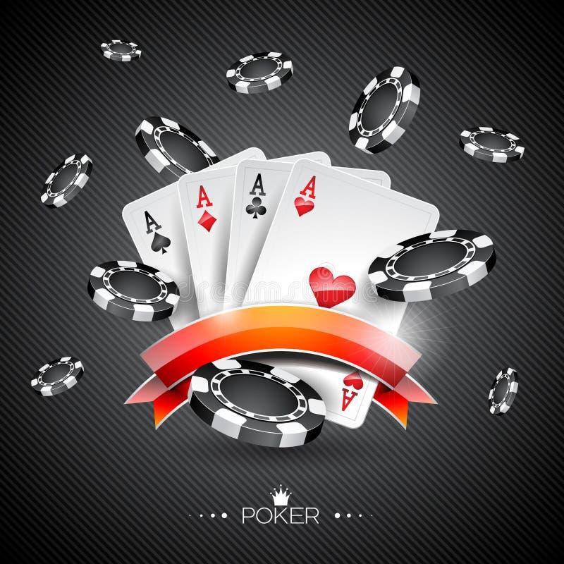 Vector a ilustração em um tema do casino com símbolos do pôquer e os cartões do pôquer no fundo escuro ilustração stock
