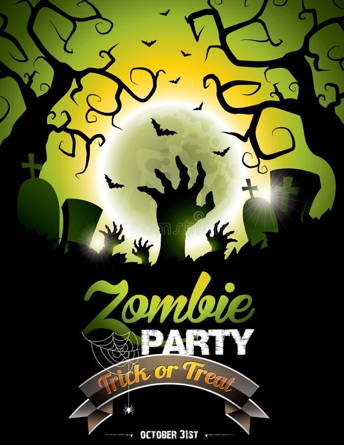 Vector a ilustração em um tema do partido do zombi de Dia das Bruxas ilustração stock