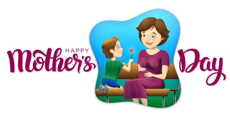Vector a ilustração feliz da cena do cumprimento do dia do ` s da mãe com rotulação ilustração stock