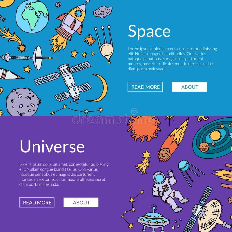 Vector a ilustração horizontal tirada mão das bandeiras da Web dos elementos do espaço ilustração royalty free