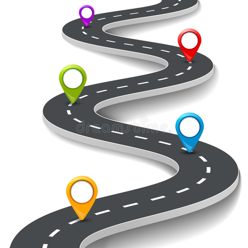 Vector a ilustração infographic da estrada 3d com pino, ponteiro Conceito da informação da rua Pinos infographic e coloridos da e ilustração do vetor