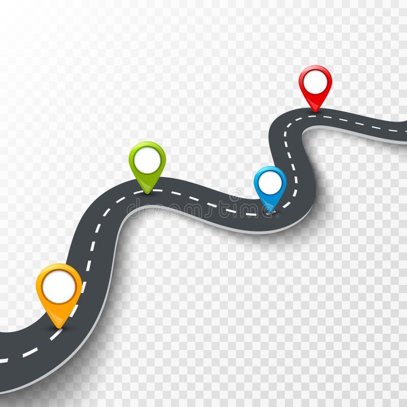Vector a ilustração infographic da estrada 3d com pino, ponteiro Conceito da informação da rua Pinos infographic e coloridos da e ilustração stock