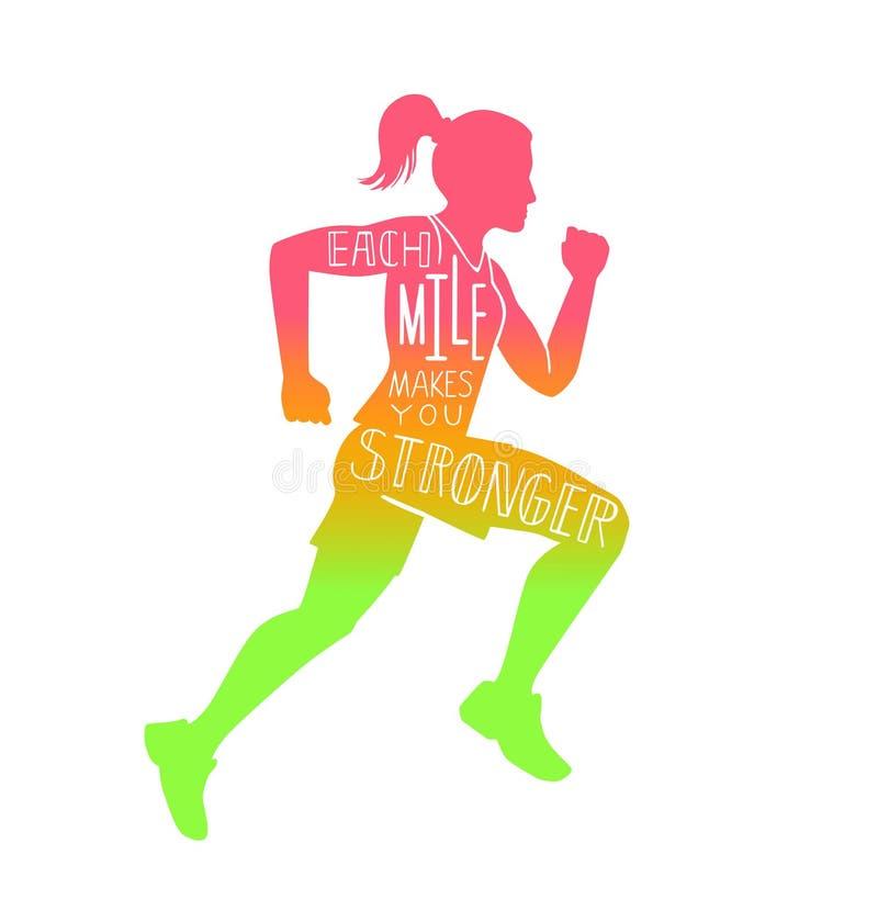 Vector a ilustração inspirador da rotulação com uma mulher running ilustração royalty free