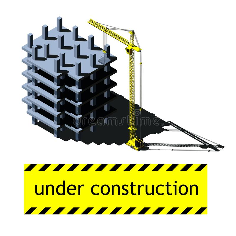 Vector a ilustração isométrica, construindo sob a construção e o guindaste ilustração do vetor